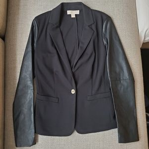 Michael Kors One Button Blazer with Faux Leather 4